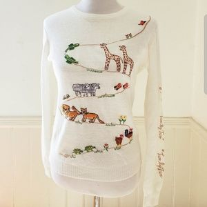 Vintage 1970s White Embroidered Animal Sweater 70s